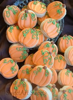 Pumpkin cookies fall cookies 1 dozen by SweetArtSweets on Etsy, $15.00