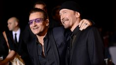 Bono and The Edge at Palm Springs International Film Festival Jan 2014. U2 honoured for 'Ordinary Love' written for the film Mandela, Long Walk to Freedom