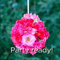 Create your own custom party décor by fashioning hanging flower balls out of a styrofoam form, wire, ribbon and silk flowers. You choose the size and colors!