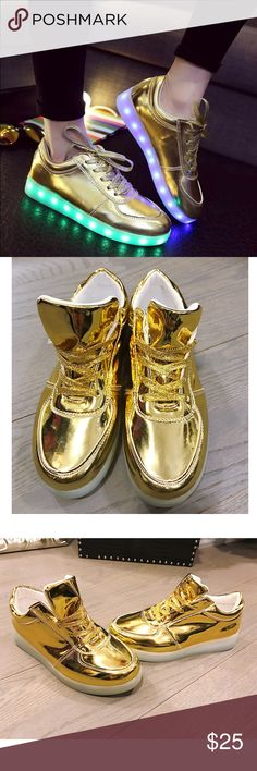 27e6e1e9ce8b Brand New In Box Gold LED Light Up Sneakers 38 Run small. Fits likes 37 or  Shoes Sneakers