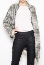 Black White Striped Long Sleeve Cardigan Sweater - Sheinside.com