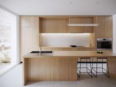 Alexandra Residence - Full CGI on Behance Open Kitchen And Living Room, Kitchen Room Design, Modern Kitchen Design, Interior Design Kitchen, Modern Interior, Küchen Design, House Design, Zen House, Small Modern Home