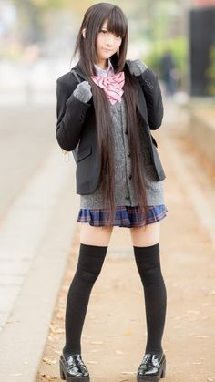 Best 11 ~*School Girl☆*~ school uniform – blazer jacket – cardigan – sweater – bow tie ribbon – plaid skirt – thigh high stockings – long hair – backpack – nanchatte fashion – cute – moe – cosplay – kawaii – Page 786581891143379573 School Girl Japan, Japanese School Uniform Girl, School Uniform Fashion, School Girl Outfit, School Uniform Girls, Girls Uniforms, Japan Girl, Girl Outfits, Cute Outfits