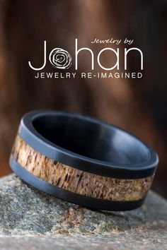 Deer antler lines the inlay of this black zirconium wedding band from Jewelry by Johan. #JewelrybyJohan