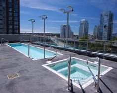 ALKA POOL - This commercial pool and whirlpool oasis is enhanced by the amazing cityscape backdrop as it is elevated on the 9th floor in the heart of our stunning city; this is the place to be.  The owners' choices of tile finishes and clean architectural lines complement the buildings overall modern look.