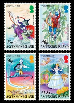 The Ascension Island Christmas stamps, issued by the Ascension Island Post Office, designed by Julian Vasarhelyi, picks up the theme of Christmas Pantomimes.
