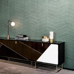 Taking the beautiful chevron parquet wooden floor design and transferring it to the wall, Spectra Parquet makes the iconic luxurious flooring more playful. Arte Wallcovering, Wall Textures, Homewares Online, Floor Design, Wooden Flooring, Textured Walls, Interior Inspiration, Art Deco, New Homes