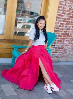 Chiara Skirt Red Voluminous Full Ball Gown Skirt with Slit