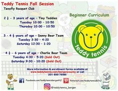 Our Teddy Tennis Fall Session Beginner classes are starting to sell out. Enroll your Cub Cadets today to the Teddy Tennis Academy! #TeddyTennis #SportMusicFun