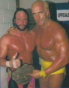"WCW World Heavyweight Champion ""Macho Man"" Randy Savage and Hulk Hogan"