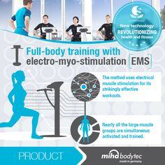 New technology revolutionizing health & fitness! Full-body training with electro-myo-stimulation (EMS) The method uses electrical muscle stimulation for its strikingly effective workouts. Nearly all the large muscle groups are simultaneous activated and trained. Producer: www.miha-bodytec.com Made in Germany!