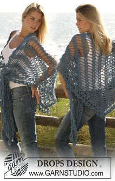 "DROPS shawl crochet with ""Silke-Alpaca"". ~ DROPS Design"