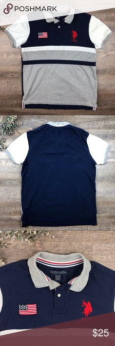 U.S. Polo Assn. Blue and Gray American Polo Shirt Great U.S. Polo Assn. blue and gray American polo shirt! In good condition. 95% cotton. 5% viscose. Slim fit. Size L. (J. 20. B) U.S. Polo Assn. Shirts Polos