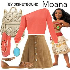 Disney Cosplay [[MORE]]Flats Skirt Sweater Belt Backpack Necklace Disney Bound Outfits Casual, Moana Outfits, Cute Disney Outfits, Disney Themed Outfits, Disneyland Outfits, Disney Dresses, Cute Outfits, Modern Disney Outfits, Princess Inspired Outfits