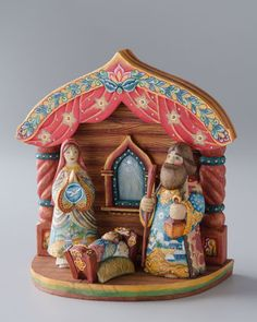 Holy Family with Stable - Russian Folk Art, hand-painted