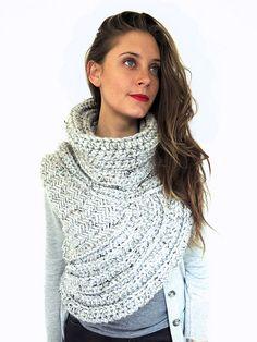 Ravelry: Huntress Vest // Chunky Crochet and Knit Asymmetrical Cowl Vest Shawl Scarf One Armed pattern by Alexandra Tavel