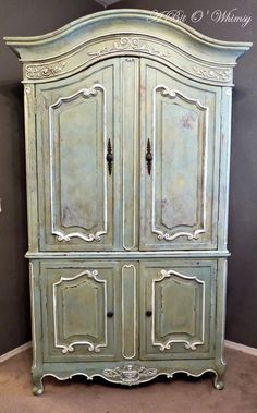 French Armoire Makeover - tutorial lists the ASCP colors used to get this great look - at www.abitowhimsy.com