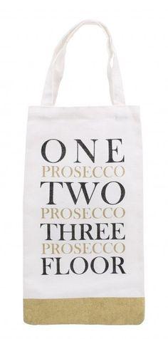 'one prosecco two prosecco three prosecco floor' Prosecco Bottle Bag gold glitte  | eBay