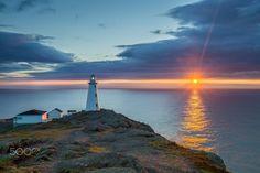 Cape Spear & Ocean Sunrise by Kaitlyn McLachlan on newfoundland canada Newfoundland Canada, Newfoundland And Labrador, Landscape Art, Landscape Photography, Art Photography, Dawn And Dusk, Egyptian Goddess, Nova Scotia, Airplane View