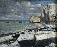 Gustave Courbet (1819-1877). Plage d'Étretat par un temps de neige. Huile sur toile. Château-musée de Dieppe - Dieppe - France