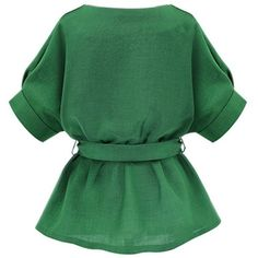 Persun Women's Green V Neck Bow Tie Belt Short Sleeve Plus Size Blouse ❤ liked on Polyvore featuring tops, blouses, plus size blouses, plus size tops, womens plus tops, plus size short sleeve blouses and plus size short sleeve tops