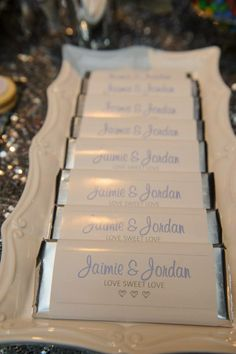 Custom chocolate bar wrappers - engagement party ideas