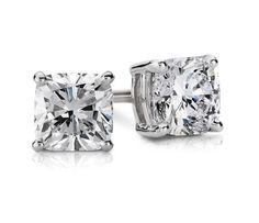 Cushion Diamond Stud Earrings in 14k White Gold (1/2 ct. tw.) | Blue Nile