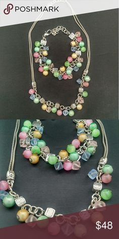 Brighton colorful necklace and bracelet set Colorful and fun you get both for a great price Brighton Jewelry Bracelets