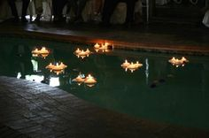 Floating Candles In The Pool Wedding Plan