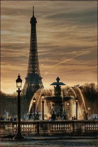 Palace de Concorde, Eiffel Tower background at sunset.  Near hotel we stayed in- The Regina.