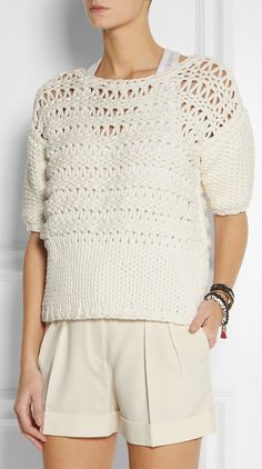 Oversized open-knit cotton-blend sweater