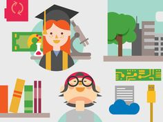 Flat Education Vector Illustrations by Jennifer Hood for Hoodzpah