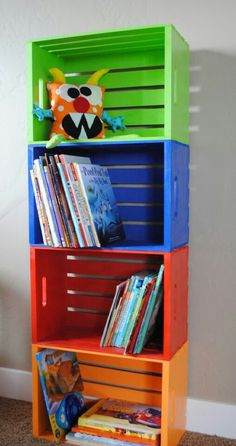 #Recycled boxes nailed together #reused as ashelf-- Love this