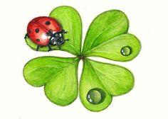 Lucky Ladybug and Shamrock Art Print by SaylorWolfWorks on Etsy