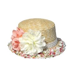Women Summber Bohemia Fashion Lace Flower Small Floral Mosaic Straw Fedoras Hat Cap For Ladies Girls Holiday Shopping Sea Beach