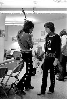 Mick Jagger and Keith Richards bakcstage on the 1972 American tour.