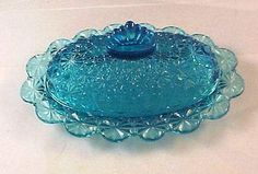 L. G. Wright #22-12 Blue Butter Dish made in 1950's - 1960's.