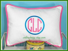 Framed Octagon or Circle Monogrammed Pillow Cover  by calicodaisy, $30.00 #monogram #home dec