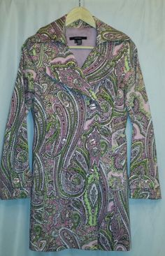 Zara Pink and Lime Paisley Print Cotton Stretch Lined Trench Jacket-Size Small #ZARA #Trench
