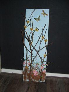 Schilderij met takken.Gemaakt door Gerrie van Leeuwen.