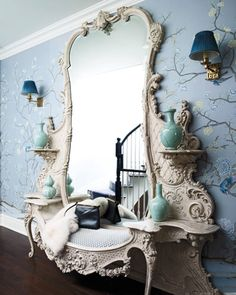 hallway-renovation-ideas-on-budget --- home decor interior design inspiration boho eclectic bohemian chic modern farmhouse rustic vintage glamorous white french shabby chic mirror huge giant large oversized entryway teal pottery blue wallpaper branches