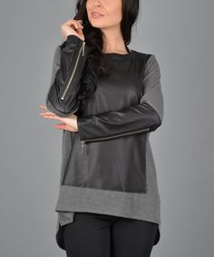 Look what I found on #zulily! Black & Gray Faux Leather Hi-Low Top #zulilyfinds