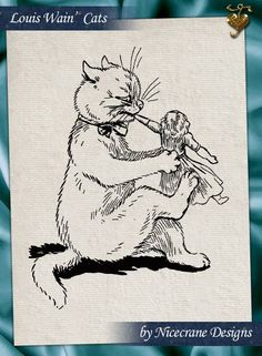 """""""Jingles, Jokes and Funny Folks"""" illustrated by Louis Wain, and written by Clifton Bingham. Published by Mcloughlin Bros. Louis Wain Cats, Fancy Cats, Kittens, Kitty Cats, All About Cats, Cat Drawing, Art Studies, Cat Art, Dog Cat"""