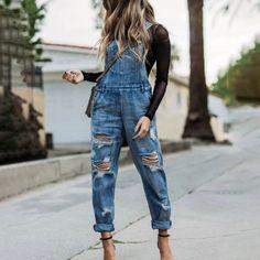 Blue Pockets Denim Casual One-Pieces Denim Overalls Outfit, Overalls Women, Ripped Denim, Overalls Fashion, Dungarees, Denim Fashion, Fashion Outfits, Fashion Scarves, Feminine Fashion