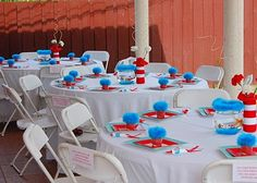 Dr. Suess Tables-very simple blue plate then red with table topper