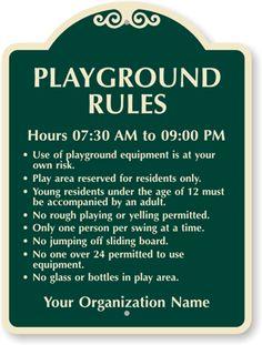 playground signs | ... playground signs private playground signs prohibition signs playground