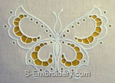 SKU 10439 Butterfly cutwork lace machine embroidery