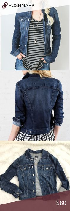 Adriano Goldschmied Robyn jacket Everyone needs a jean jacket in their closet and this one is perfect. Soft denim in a dark wash this pairs with everything! This is a Must have !! Excellent condition. No trades. AG Adriano Goldschmied Jackets & Coats Jean Jackets