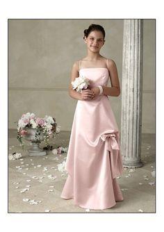 Wedding dress online shop - satin spathetti straps with a line pick up skirt flower girl dress fl 0050
