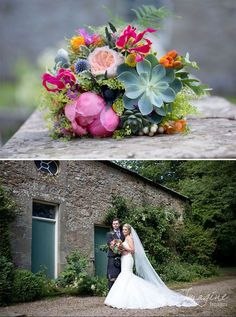 Bridal bouquet of summer flowers - castle and barn wedding - Wedderburn Castle and Barns